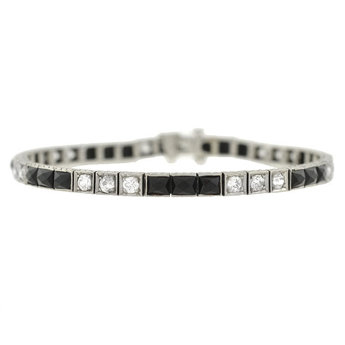 Art Deco Platinum Diamond & Onyx Line Bracelet