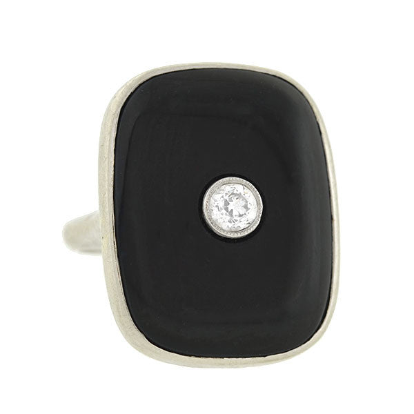 Art Deco 18kt Onyx & Diamond Ring .20ct