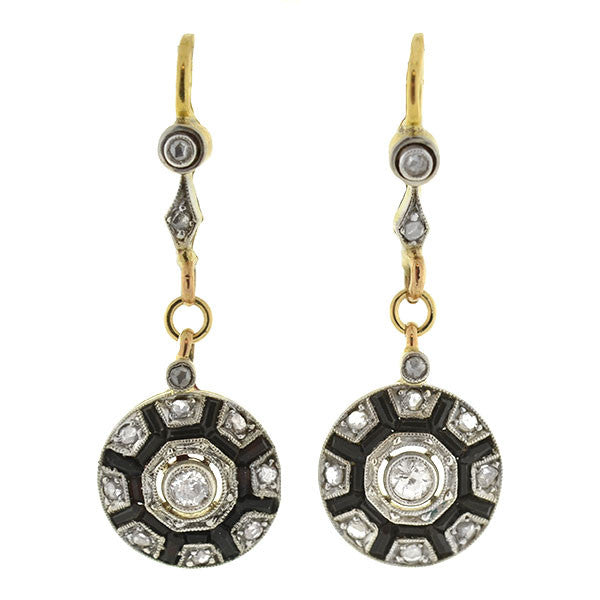 Edwardian 18kt Platinum Diamond & Onyx Earrings