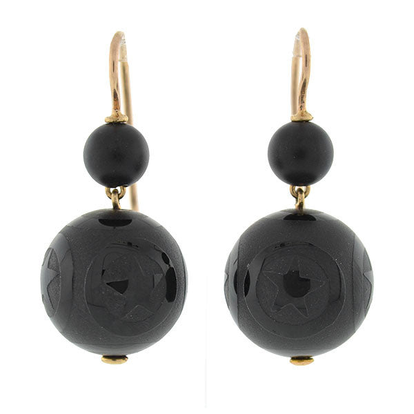 Victorian 14kt Onyx Engraved Star Motif Earrings