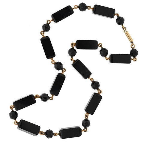Victorian Gold Filled Faceted Onyx Bead Necklace