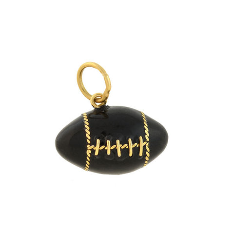 Vintage 14kt Black Enamel Miniature Football Charm