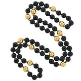 Estate Black Onyx & 14kt Gold Bead Necklace 34