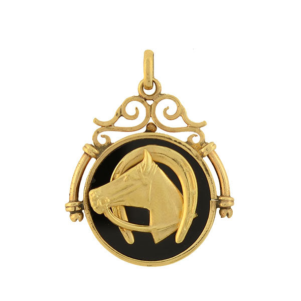Victorian 14kt Onyx Fob with Horseshoe & Horse Head