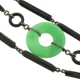 Art Deco Glass Faux Onyx & Jade Necklace