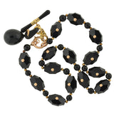 Victorian 15kt Gold & Hand Carved Onyx Link Necklace