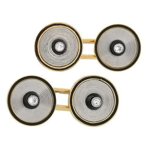 Art Deco  French, 18kt Onyx, Enamel & Diamond Cufflinks