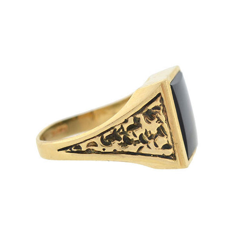 Victorian 14kt Onyx Smooth Signet Repousse Ring