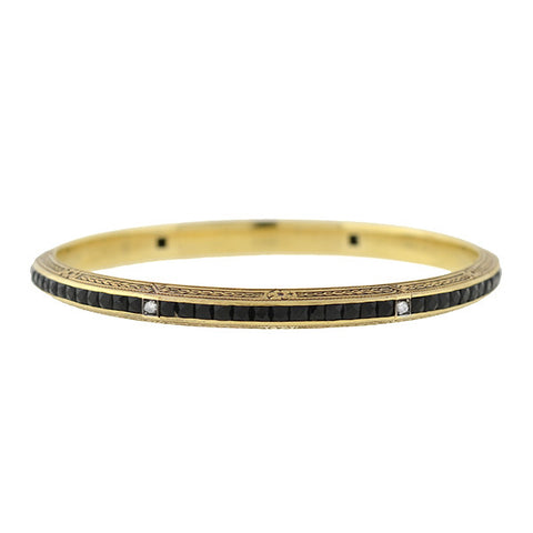 Art Deco 14kt French Cut Onyx & Diamond Bangle Bracelet