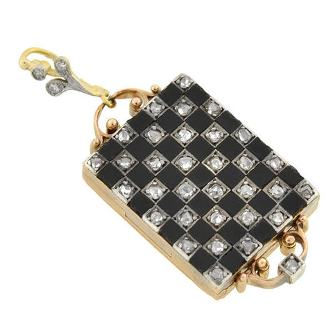 Edwardian 18kt Platinum Onyx & Diamond Checkerboard Locket