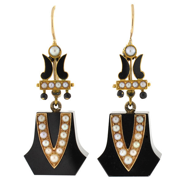 Victorian 15kt Onyx, Seed Pearl & Enamel Earrings