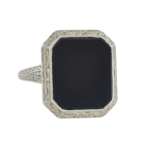 LARTER & SONS Art Deco 18kt Onyx Plaque Ring