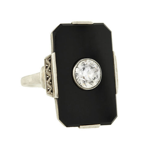 Art Deco Large Silver Onyx & White Zircon Cocktail Ring