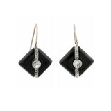 Art Deco 14kt Carved Onyx + Diamond Earrings