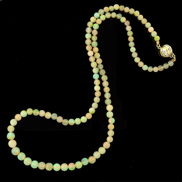 Vintage Opal Bead Necklace 48ctw w/ 14kt Diamond Clasp
