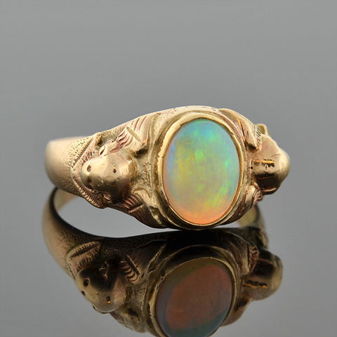 Art Nouveau 14kt Opal Ring w/ Angel Motif
