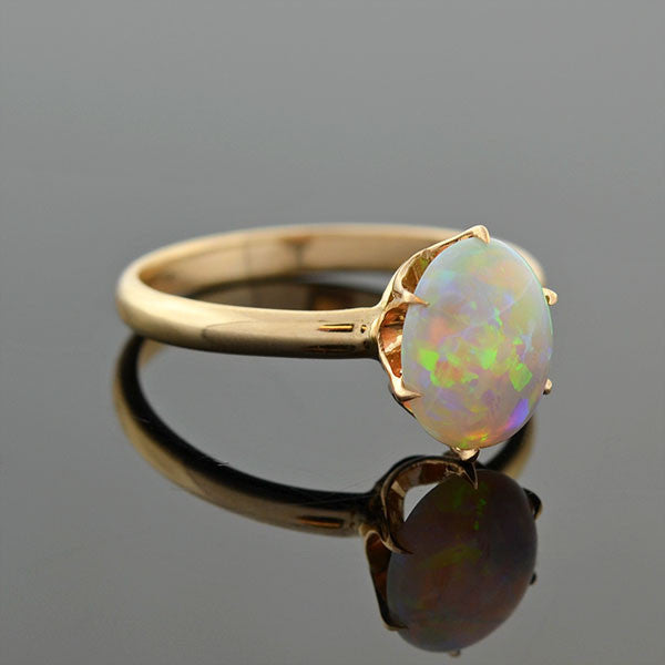 Victorian 14kt Opal Cabochon Prong Set Ring