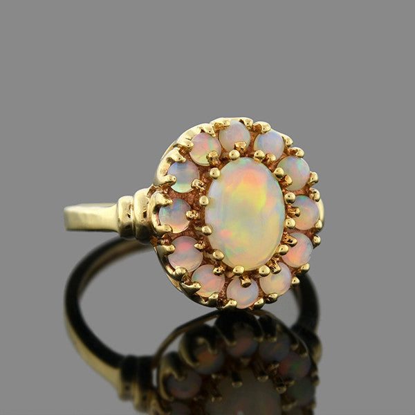 Retro 14kt Opal Cabochon Cluster Ring