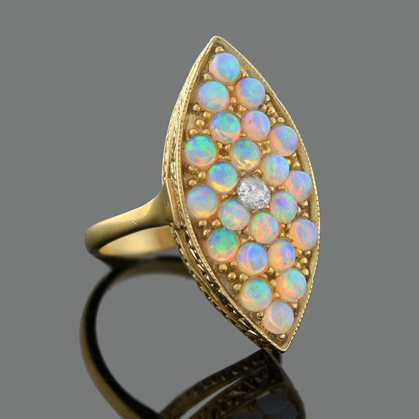 Estate 9kt Pavé Opal & Diamond Navette Ring