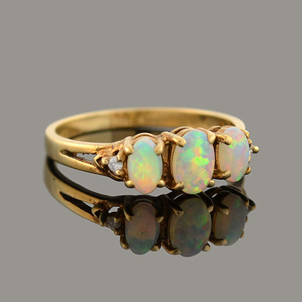 Retro English 9kt Opal + Diamond 3-Stone Ring