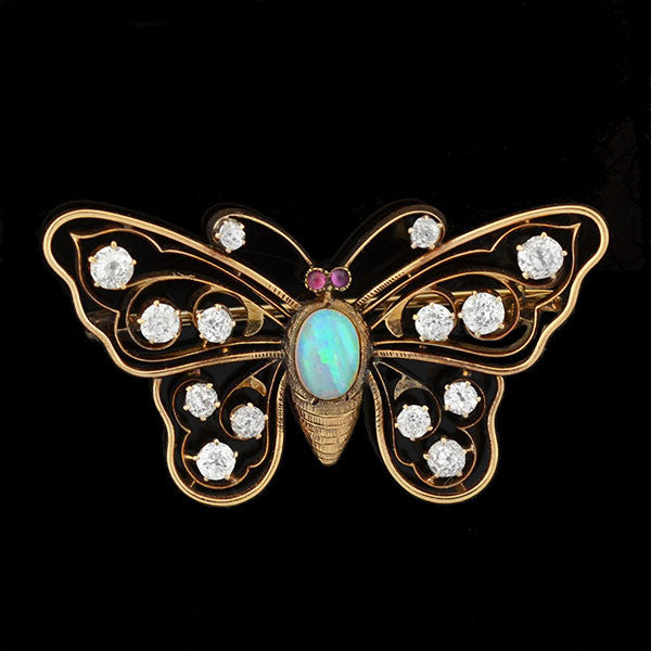 Art Nouveau 14kt Diamond, Opal & Ruby Butterfly Pin