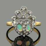Edwardian Platinum/14kt Opal & Diamond Double Hearts Ring