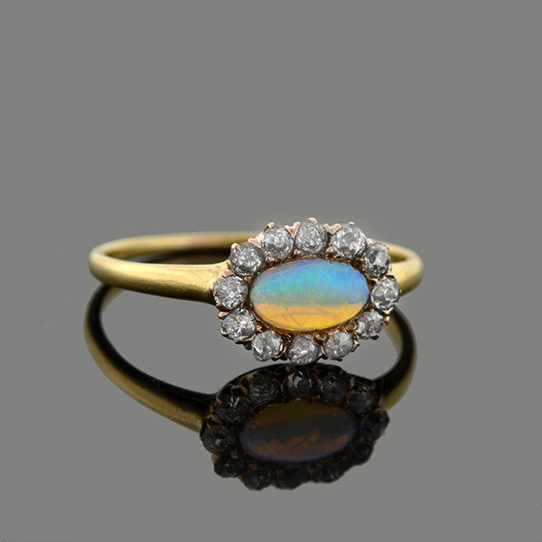 Late Victorian 14kt Opal & Diamond Ring