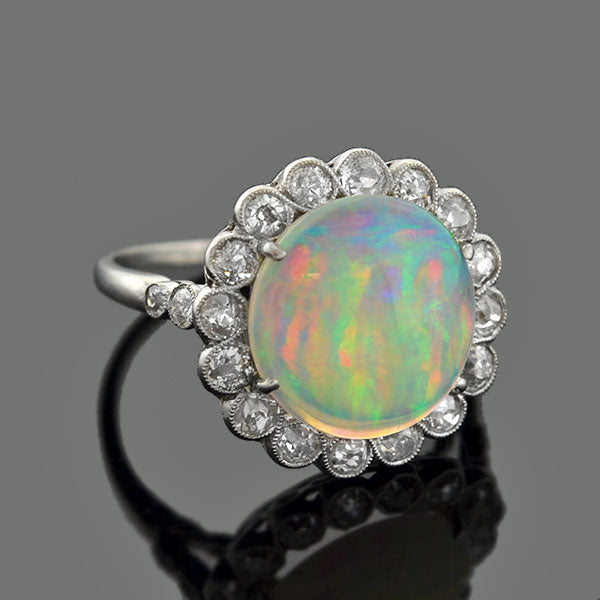 Art Deco Platinum Opal & Old Mine Cut Diamond Ring