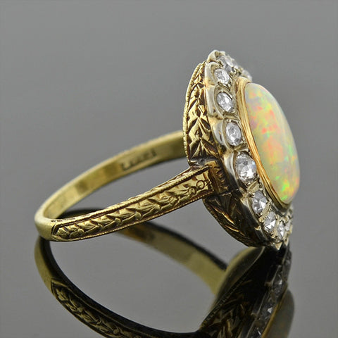 Late Victorian 14kt Opal & Diamond Ring .65ctw