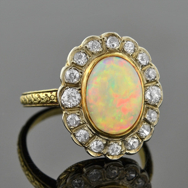 Late Victorian 14kt Opal Diamond Cluster Ring .65ctw