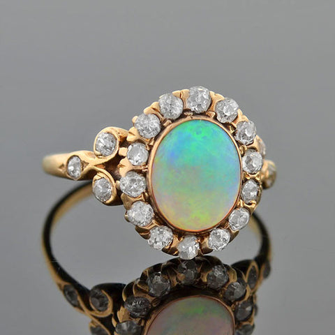 Victorian 14kt Opal Diamond Cluster Ring