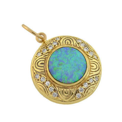 Art Nouveau 14kt Black Opal Diamond Pendant
