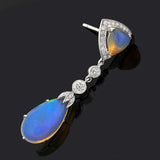 Art Deco Style 18kt Opal Diamond Earrings
