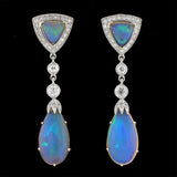 Art Deco  18kt Opal Diamond Earrings