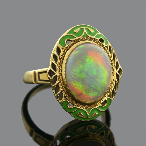 Art Nouveau 14kt Enameled Opal Filigree Ring