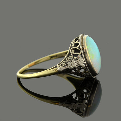 Late Art Deco 14kt Mixed Metals Opal Heart Motif Ring