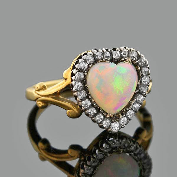 Victorian 14kt/Sterling Opal Diamond Heart Ring