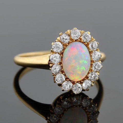 Victorian 14kt Opal & Mine Cut Diamond Halo Ring .70ctw