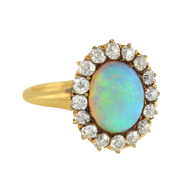 Victorian 14kt Opal Mine Cut Diamond Cluster Ring