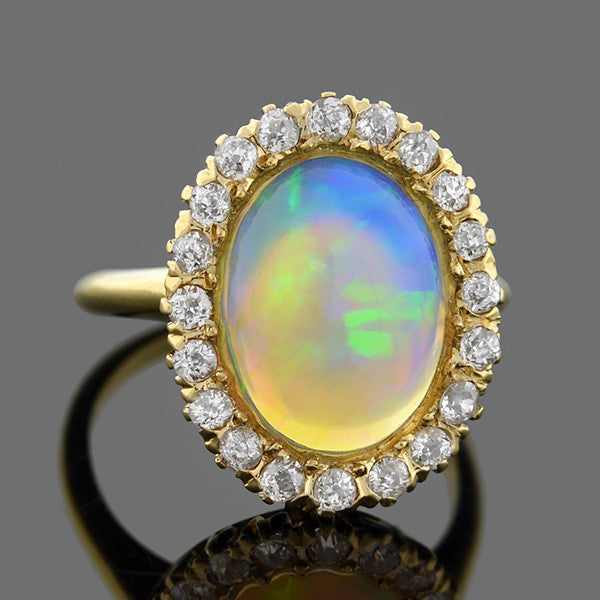 Victorian 14kt Opal & Mine Cut Diamond Halo Ring