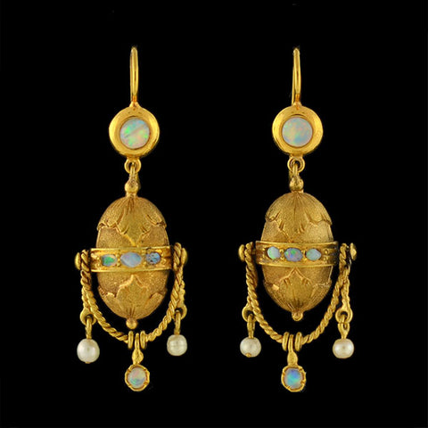 Victorian 14kt Opal & Pearl Dangling Earrings