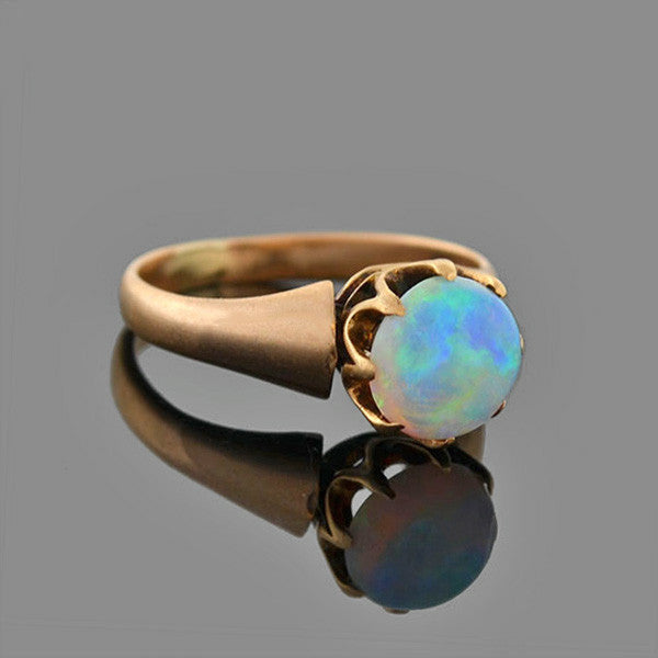 Victorian 14kt Prong Set Opal Cabochon Ring
