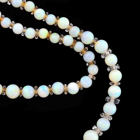 Art Deco 15kt Opal & Rock Quartz Crystal Bead Necklace