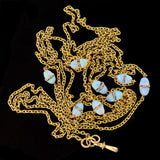 Art Deco Long 14kt Opal & Rock Quartz Crystal Chain 60