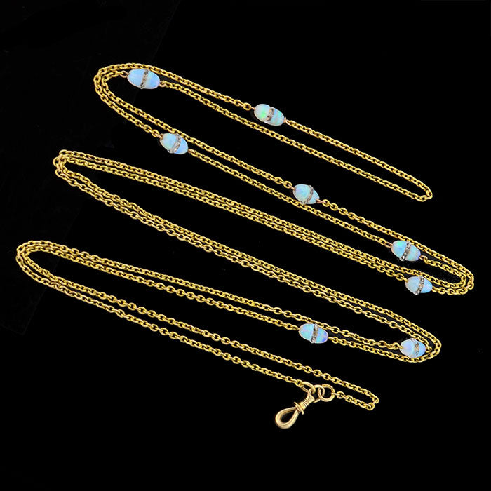 Art Deco Long 14kt Opal & Rock Quartz Crystal Chain 60""