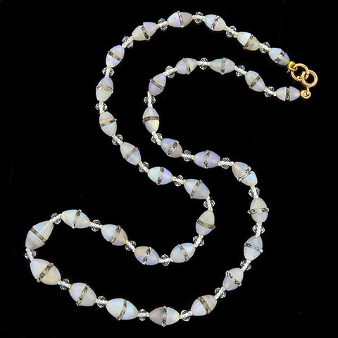 Art Deco Opal & Rock Quartz Crystal Bead Necklace