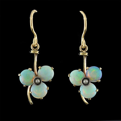 Victorian 14kt Trefoil Opal & Seed Pearl Earrings