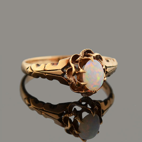 Victorian 14kt Rose Gold Opal Cabochon Ring