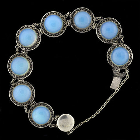 Arts & Crafts Sterling Opaline Link Bracelet