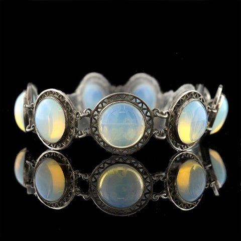 Arts & Crafts Sterling Opaline Glass Link Bracelet